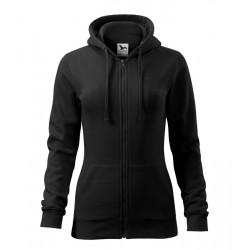Fekete női kapucnis pulóver