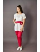 Fehér, pamut sztreccsnadrágok és gumis derekú női nadrágok